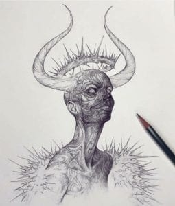 Drawing of a horned woman's head with a spiked halo